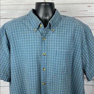 LL Bean Blue Plaid Cotton SS Shirt Mens Size XXL